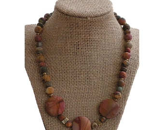 Pink and Brown Stone Necklace | Matte LandscapeJasper and Red Creek Jasper Necklace
