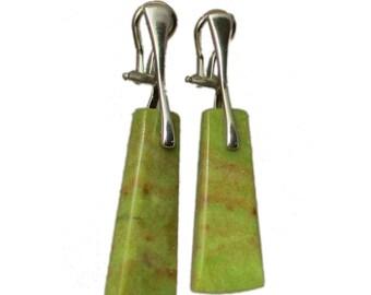 Greenish Yellow Clip-On Earrings Silver | Stone Clip-On-Earrings | Yellow Opal Clip-On Earrings