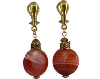 Orange Clip-On Earrings | Banded Carnelian Clip-On Earrings | Orange Stone Clip-On Earrings