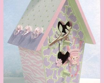 "Pastel Animal Print Nursery Birdhouse - Jungle Themed Birdhouse - Pink Baby Monkey Birdhouse - ""Sweet Safari"""