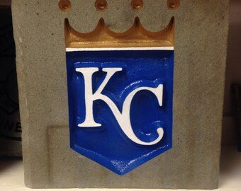 Kansas City Royals Garden Stone, baseball, sand blasted and hand painted in Pennsylvania stone, unique