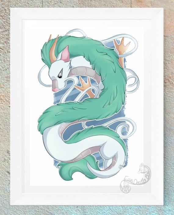 Spirited Away Haku Dragon Anime Fan Art Print Gift Etsy