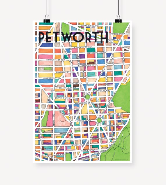 Petworth Dc Map.Petworth Neighborhood Map Etsy