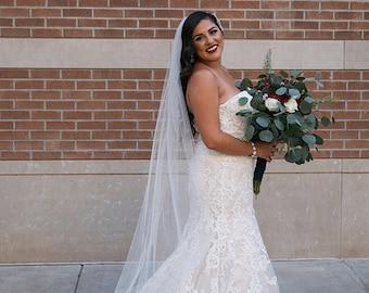 Chapel length Wedding Bridal Veil 90 inches white, ivory, Wedding veil Long bridal Veil chapel length veil bridal veil cut edge veil