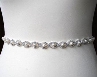 "18 - 40"" Thin Wedding Bridal Sash Belt Pearl Dress Sash Belt Rhinestone Sash Bridal Bridesmaid Sash Belt, Wedding dress sash"