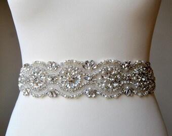 Wedding Dress Sash Belt Lond all around Crystal Bridal Sash Rhinestone Sash Bridal Bridesmaid Sash Belt, Wedding dress sash
