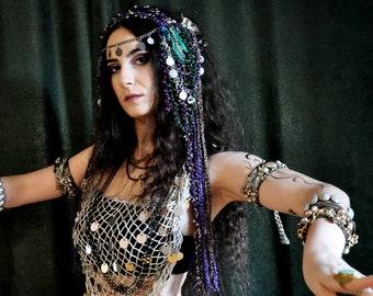 Burning man headpiece Bellydance Hair Clip Belly dance Hair Accessories dance costume Tribal Fusion Headdress