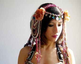 Burning man headpiece,  Tribal Fusion Headdress, Tribal Headbands, Beaded  Headpiece, Bellydance Hair Clip, Coin Headband