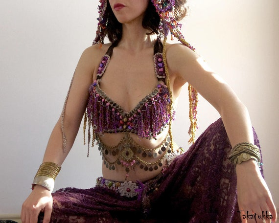 Halter Vampire Bra Gold and Brown Burningman Costume Tribal DD Cup Gothic Carnival Bellydance Fusion