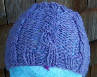 Headband, violet messy bun band, wide hand knit bun head band, lilac heather cable knit, gift for her, teen wear  free shipping in the USA