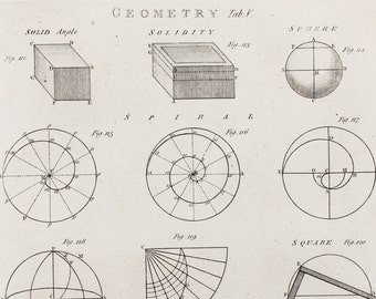 1786 Antique Mathematical Print , Georgian Copper Plate Engraving, Black and White. Geometry, Solids, Mathematics