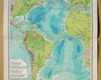 Atlantic Ocean Cables and Ocean Depths Antique Map 1906 Harmsworth Atlas