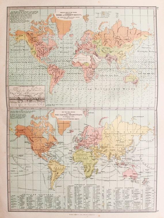 1874 Bartholomew Antique Map : World Map showing Prevailing | Etsy