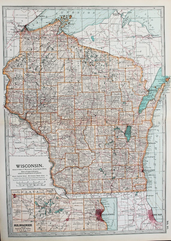 Antique Map Wisconsin Milwaukee Usa Us State Map Etsy