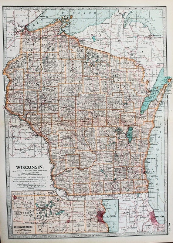 Milwaukee State Map.Antique Map Wisconsin Milwaukee Usa Us State Map Etsy