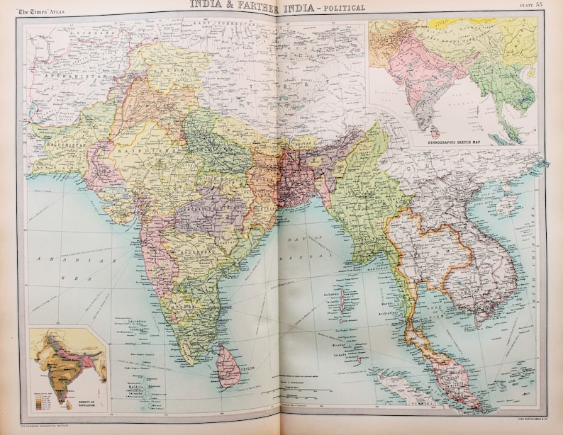 Huge 1922 Antique Map India South East Asia Burma Laos | Etsy