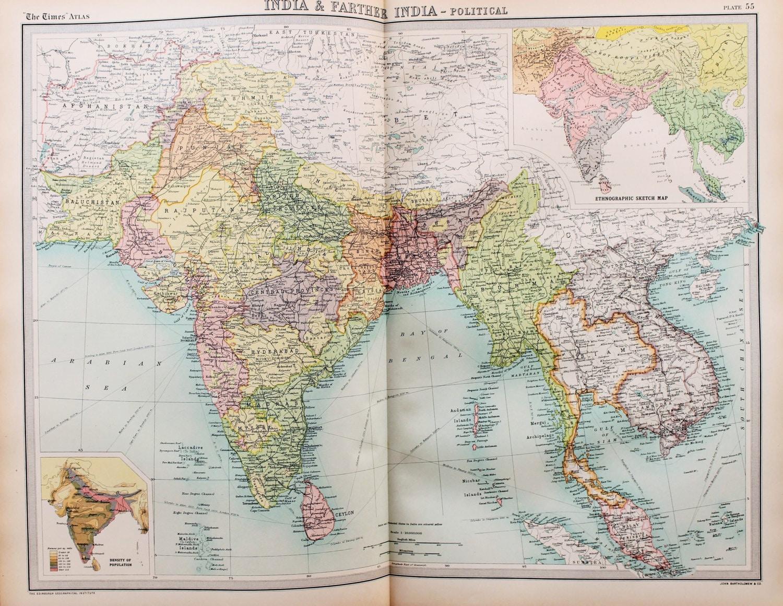 Burma Political Map.Huge 1922 Antique Map India South East Asia Burma Laos Etsy