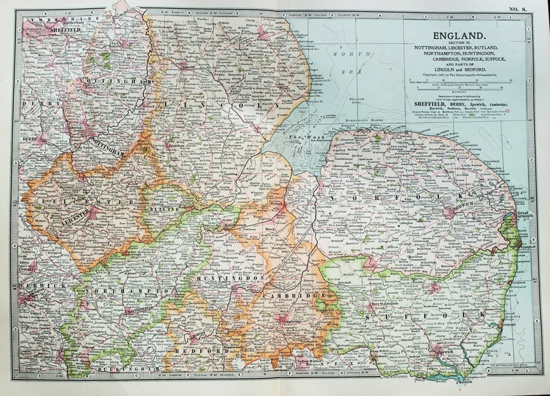 Map Of The East Of England.Antique Map Eastern England East Anglia Encyclopedia Britannica 1890s 8