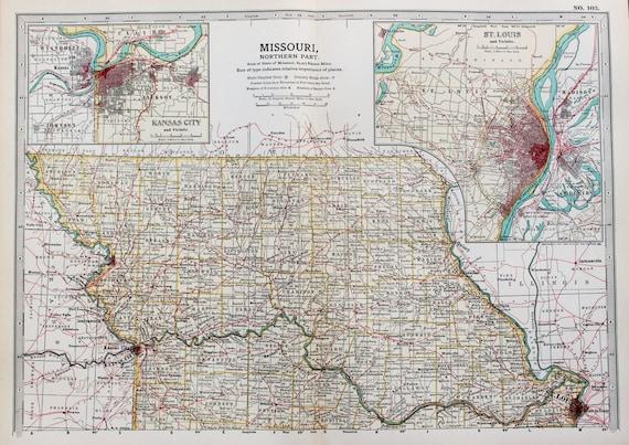 St Louis State Map.Antique Map Northern Missouri St Louis Kansas City Usa Etsy
