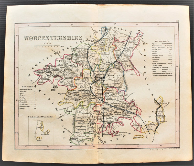Worcestershire 1820s Antique Map By Archer Hand Coloured Etsy
