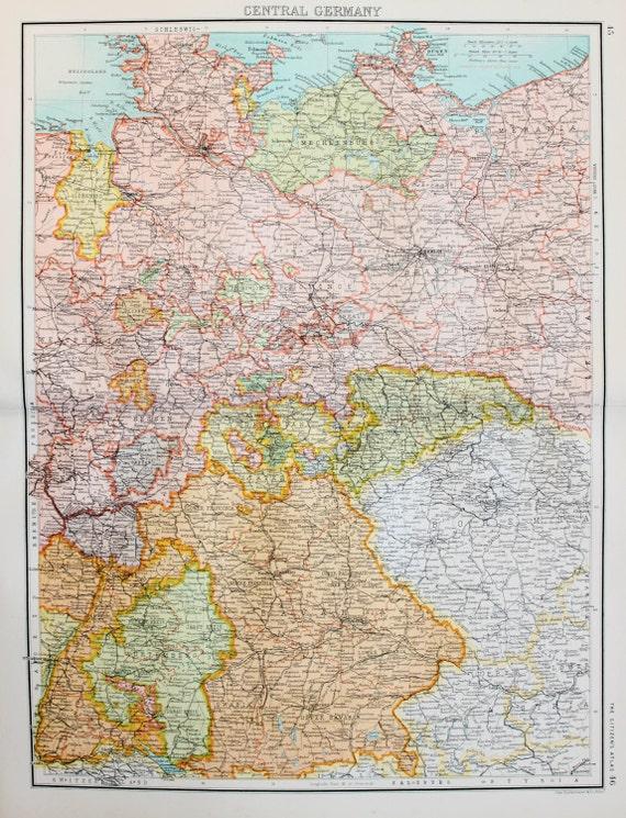 Central Germany Map.Bartholomew Large Folding 1898 Antique Map Central Germany Etsy