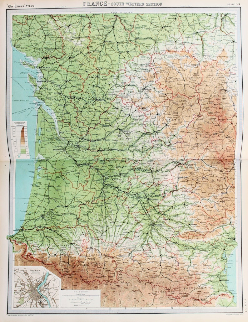 Map Of Western France.Huge 1922 Antique Map South West France Pyrenees Vintage Colour Map 30