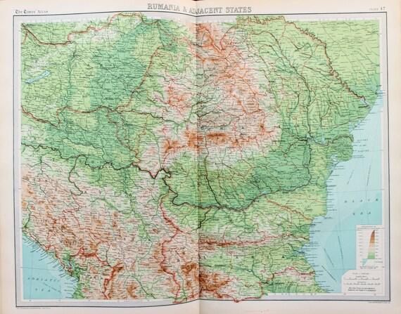 Carte Roumanie Bulgarie.Enorme 1922 Antique Carte Roumanie Roumanie Bulgarie Yougoslavie Hongrie Vintage Couleur Carte 47
