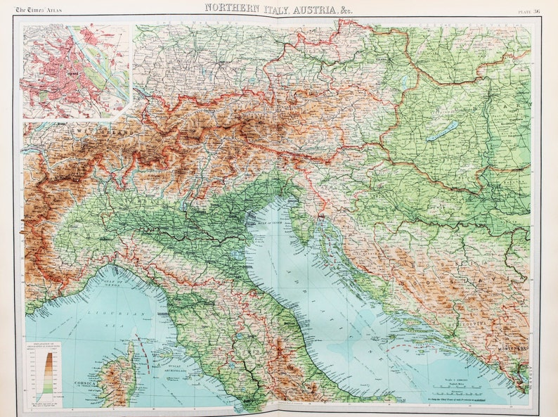 Map Of Northern Italy And Austria.Huge 1922 Antique Map Northern Italy Austria The Alps Etsy