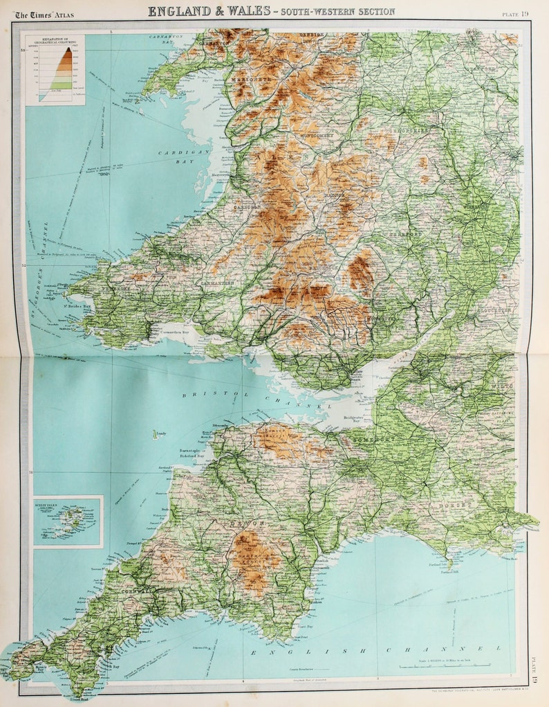 Map Of West Of England.Huge 1922 Antique Map British Isles Map South West England Wales Vintage Colour Map 19
