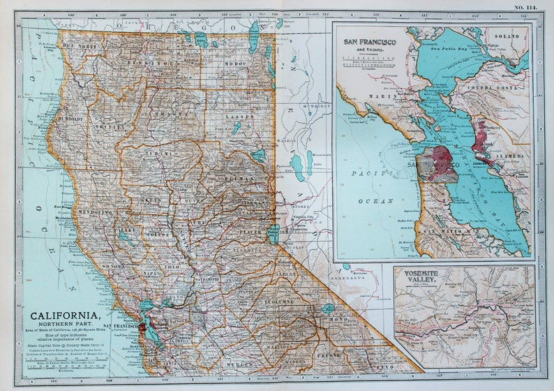 Antique Map : California, San Francisco, Yosemite, USA, US State Map. on map of chicago, map of new york city, map of los angeles, map of chico, map of mt. shasta, map of sf, map of oakland, map of heathrow, map of seattle, map of sanfransisco, map of raleigh,
