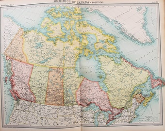 Huge 1922 Antique Map, North America, Canada, Canadian States & Provinces, Vintage Colour Map (82)