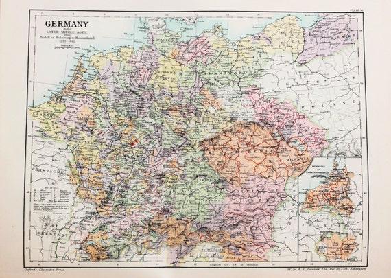 Antike Karte Deutschland Im Letzteren Mittelalter 1273 1492 Etsy