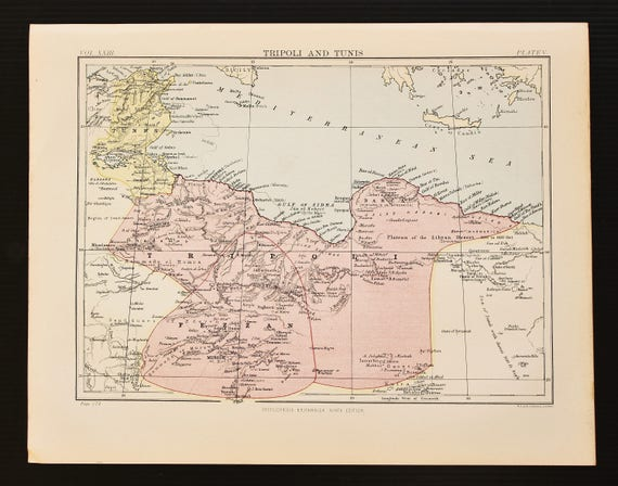 Tunisia North Africa Map.Antique Colour Map Of Libya Tripoli Tunisia North Africa Encyclopedia Britannica 1870s 8 X 11 Inches Home Decor Wall Hanging