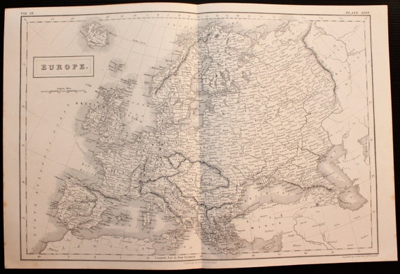 Antique Map of Europe, Continent by Sidney Hall c. 1850. Steel Engraved Map.