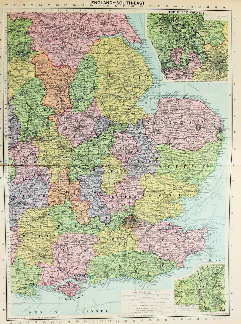 Vintage Map South East England London Counties Published 1930 Lovely Colours