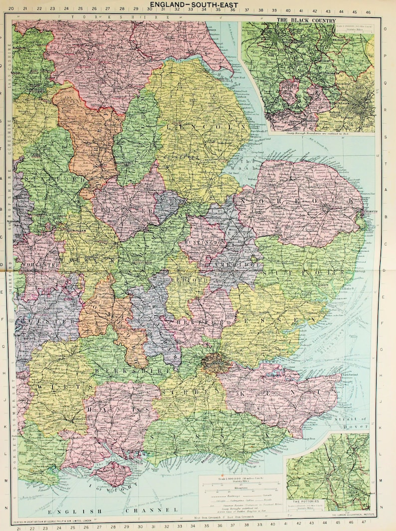 Map Of South East England Counties.Vintage Map South East England London Counties Published Etsy