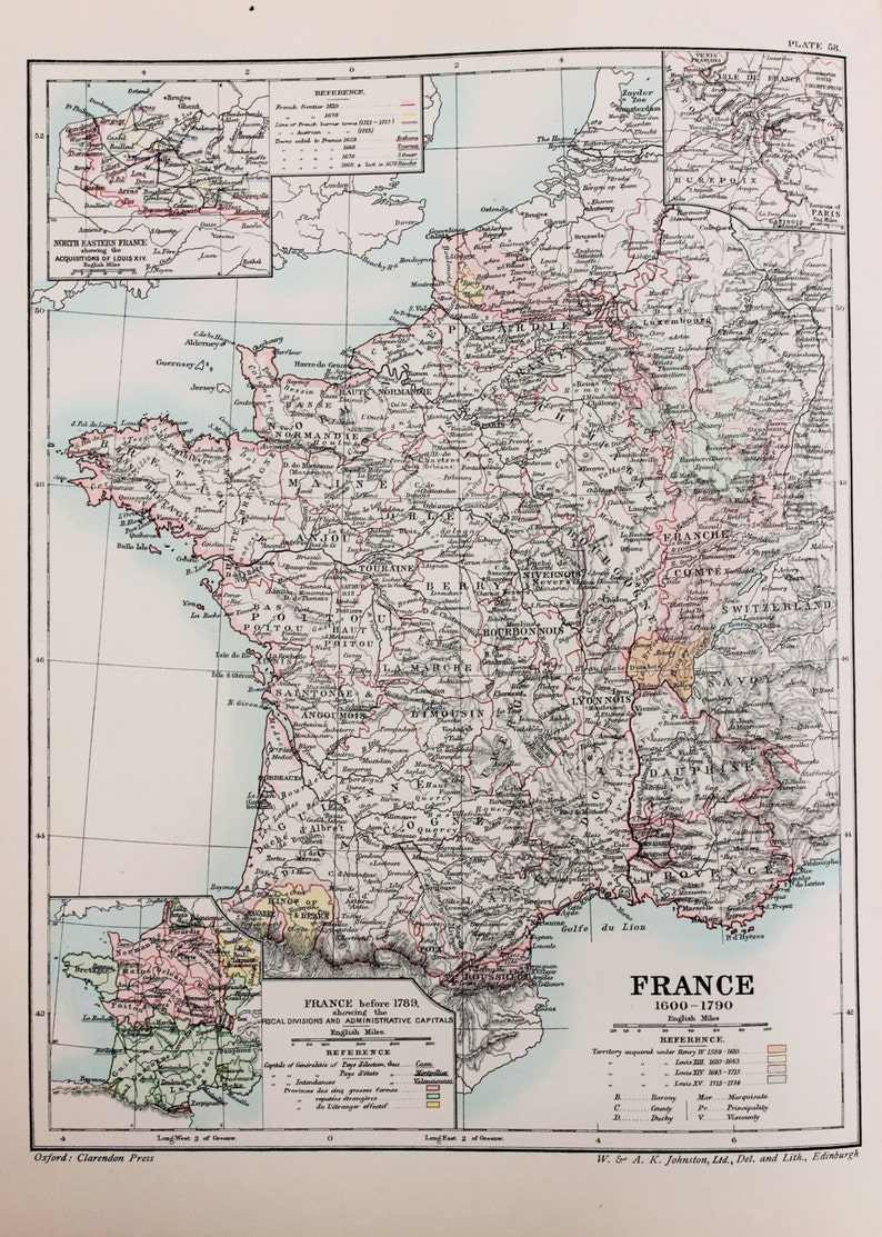Map Of France 1600.Antique Map France 1600 1790 Published 1902 Lovely Pastel Colours
