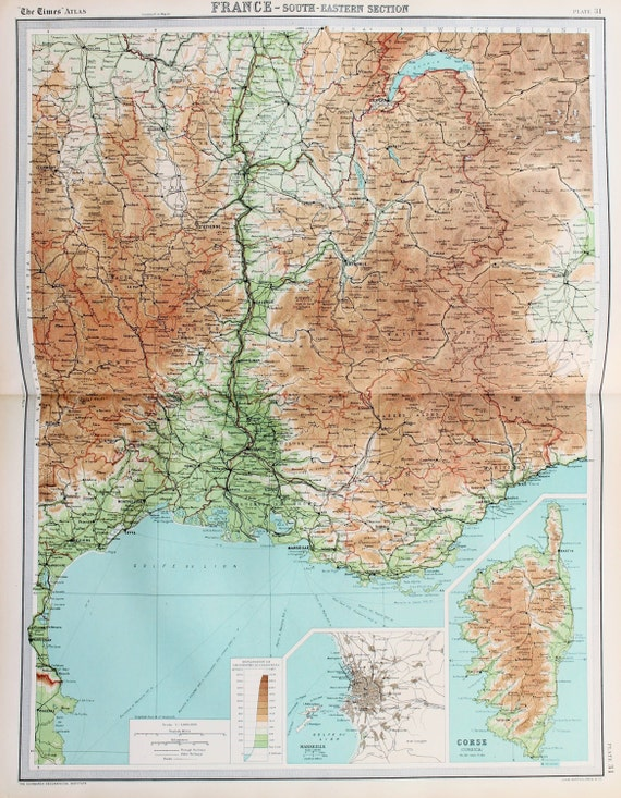 Map Of South East France.Huge 1922 Antique Map South East France Corsica Vintage Colour Map 31