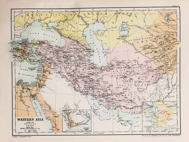 Antique Map : Western Asia under the Mongols AD 1330. | Etsy