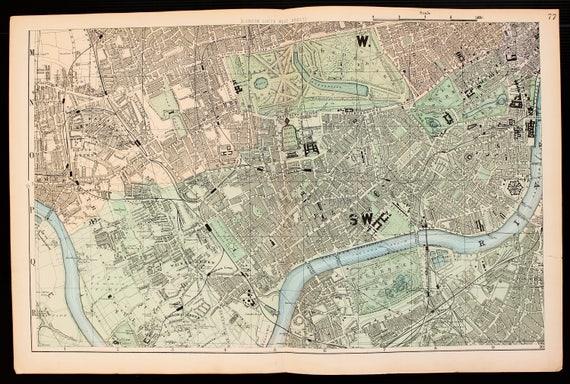 South West London Map.Antique Map Of South West London Hyde Park Bacons C 1898 Etsy