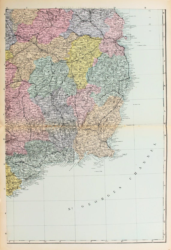 South Of Ireland Map.Antique Map South East Ireland Bacons C 1898 Lovely Etsy