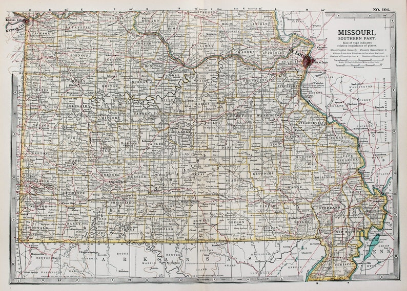 Antique Map : Southern Missouri, USA, US State Map. Encyclopedia  Britannica, 1890s (104)