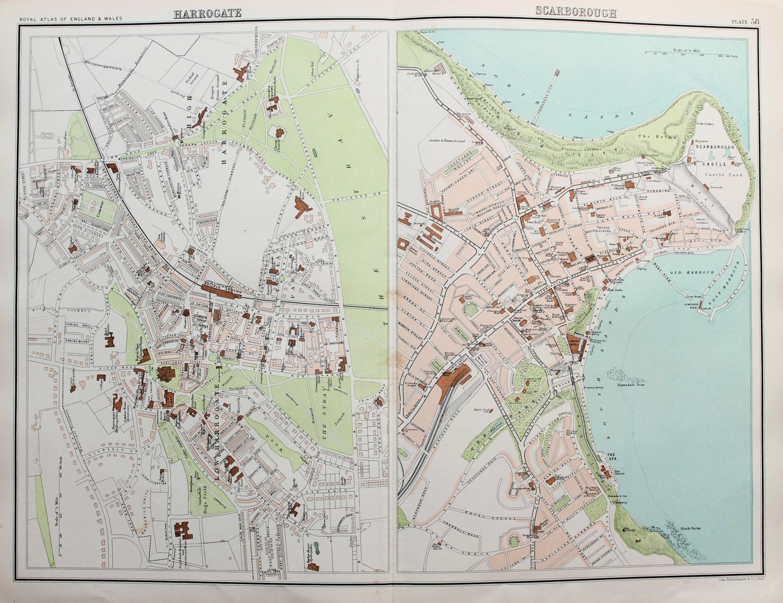 Harrogate England Map.Antique Maps Scarborough Harrogate Yorkshire Street Etsy