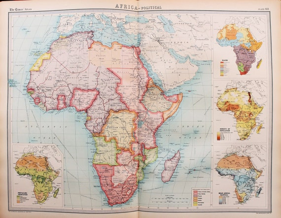 Map Of Africa Vegetation.Huge 1922 Antique Map Africa Political Vegetation Rainfall Population Religion Vintage Colour Map 68