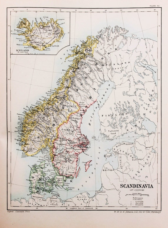 Antique Map : Scandinavia & Iceland in the 13th Century.   Etsy