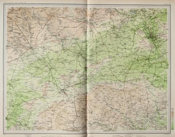 Oxfordshire Berkshire England Huge 1903 Antique Folding Etsy