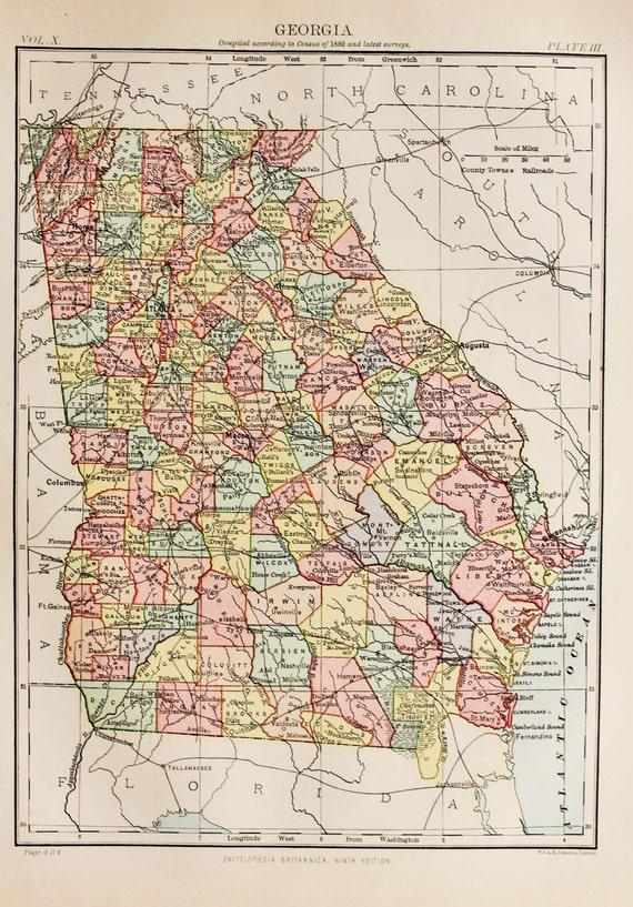 Antique State Map of Georgia, USA. Encyclopedia Britannica, 1870s, on nebraska map usa, evansville map usa, oklahoma map usa, indiana map usa, missouri map usa, california map usa, wisconsin map usa, alabama map usa, michigan map usa, connecticut map usa, tulsa map usa, houston map usa, iowa map usa, kentucky map usa, colorado map usa, akron map usa, columbia map usa, yale map usa, minnesota map usa, mississippi map usa,