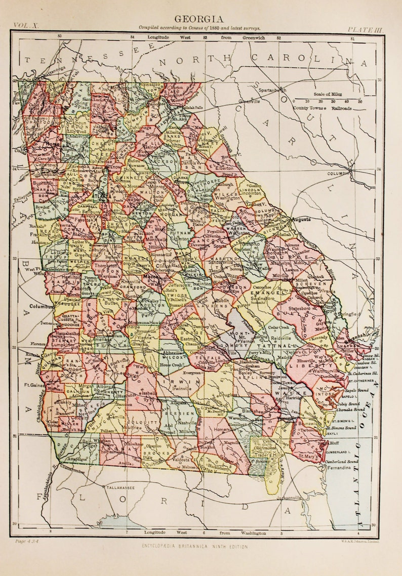 State Map Of Georgia Usa.Antique State Map Of Georgia Usa Encyclopedia Britannica 1870s 8 X 11 Inches Home Decor Wall Hanging