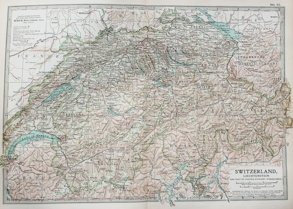 Antique Map : Switzerland, Alps, Mountains. Encyclopedia Britannica, 1890s  (27)