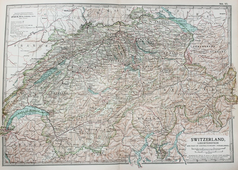 Antique Map : Switzerland, Alps, Mountains. Encyclopedia Britannica, 1890s  (27)